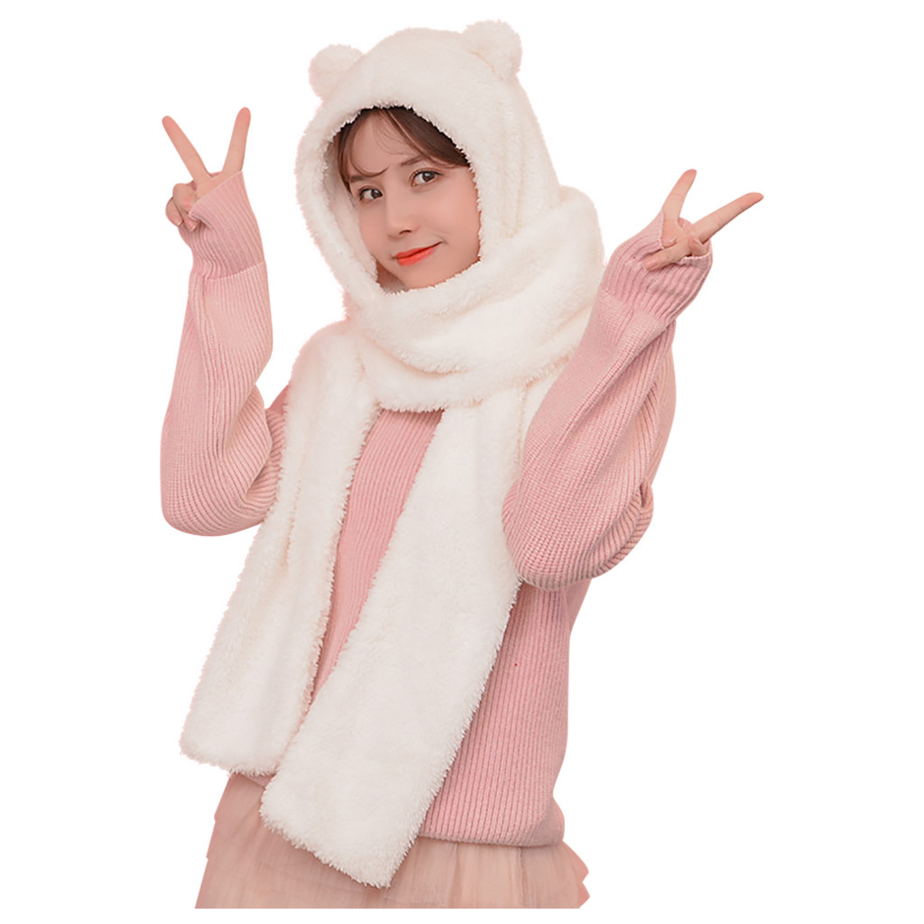 Jaycosin Winter Women Trend Cute Cartoon Thick Earmuffs Hat Ear And Scarf Two-Piece Protectors Warm Plush Hat Scarf Set 1231#10