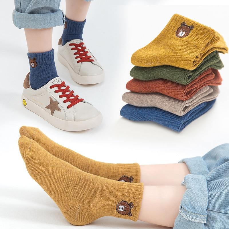 5 Pairs Baby Boys Winter Socks Cartoon Bear Kids Spring Autumn Cotton Breathable Keep Warm Floor Anti-skid Girls Socks 3