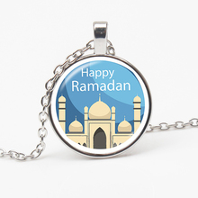 New Religious Ramadan Necklace Glass Dome Bullet Pendant Arab Muslim Islamic God Allah Jewelry Gift Friends