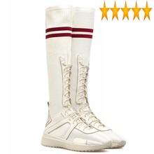 Długie buty kobiety moda wysokość zwiększenie elastyczna skarpetka siatkowy Patchwork najlepsze trampki Street Knee-High Boots tanie tanio SICCSAEE FR (pochodzenie) Prawdziwej skóry Podkolanówki Wiązanej krzyżowe Stałe Podstawowe Mesh Mesh (air mesh) Okrągły nosek