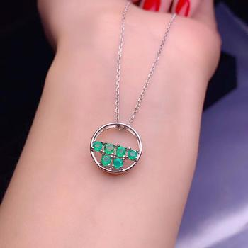Uloveido Tested Emerald Necklace Circle Round Pendant for Women, 925 Sterling Silver, 3*3mm Gem, Velvet Box Certificate FN706