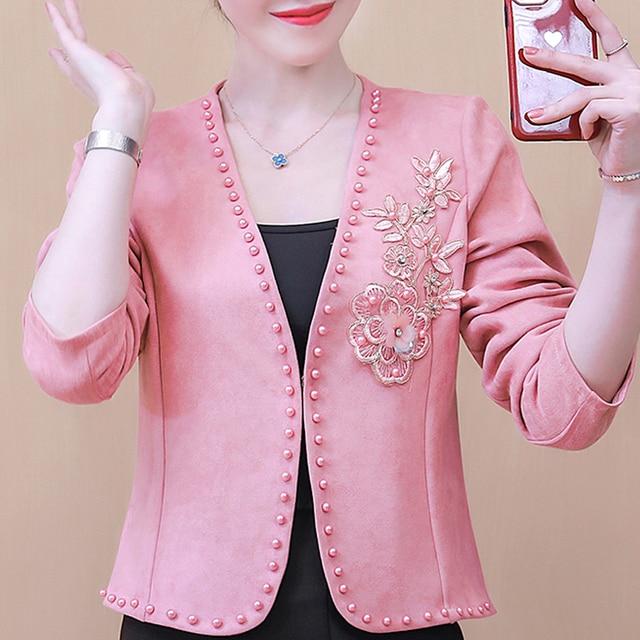 Long Sleeve Cardigan Woman Jacket 3XL 4XL  Jacket Women Jackets For Women 2021 Beading V-Neck Jacket Coat Women D107 1