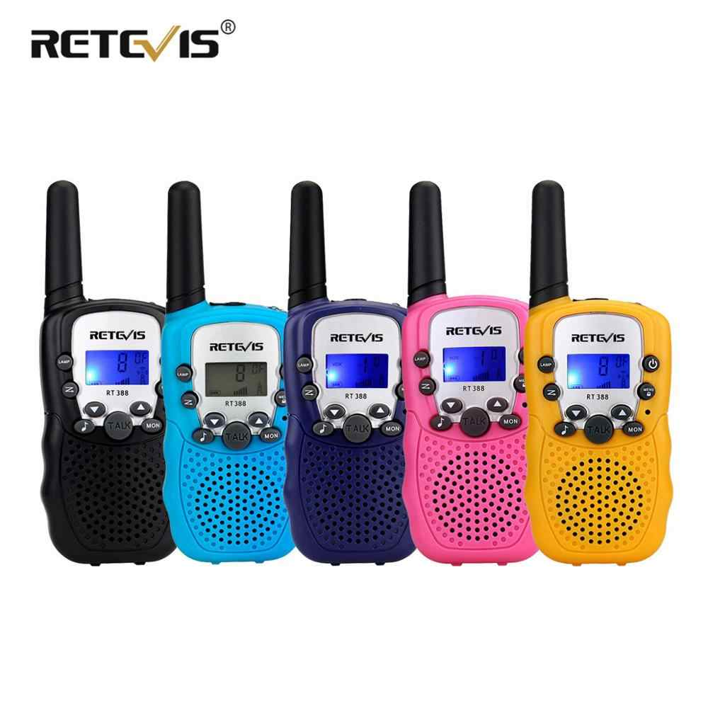 2 Pcs Mini Walkie Talkie Anak-anak Stasiun Radio Retevis RT388 0.5W PMR PMR446 Radio Dua Arah Senter Communicator hadiah Natal