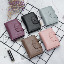 European and American new ladies short wallet high quality leather Korean large capacity female coin purse european and american simple styleluxurious genuine leather coin purse for women 4 color on sale