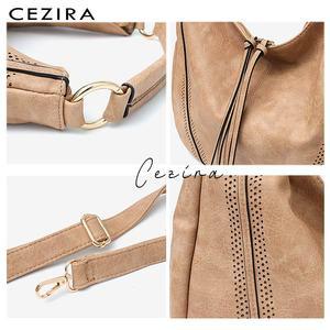 Image 4 - CEZIRA sacs à main en cuir PU souple pour femmes, sac à épaule ajouré grand Hobos avec fermeture éclair à pompon, fourre tout nouvelle mode