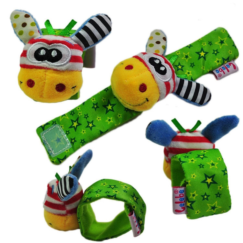 1pair Wrist Strap Rattles Animal Socks Toy Baby Infant Soft Handbells Hand Foot Developmental Toy Baby Rattles Pacify Doll For