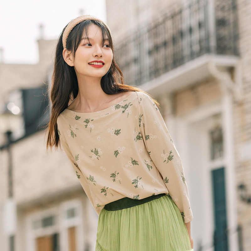 INMAN 2020 Musim Gugur Baru Kedatangan Merajut Single Bahu Floral Longgar Kapas Freshing Sastra Lengan Setengah T-shirt