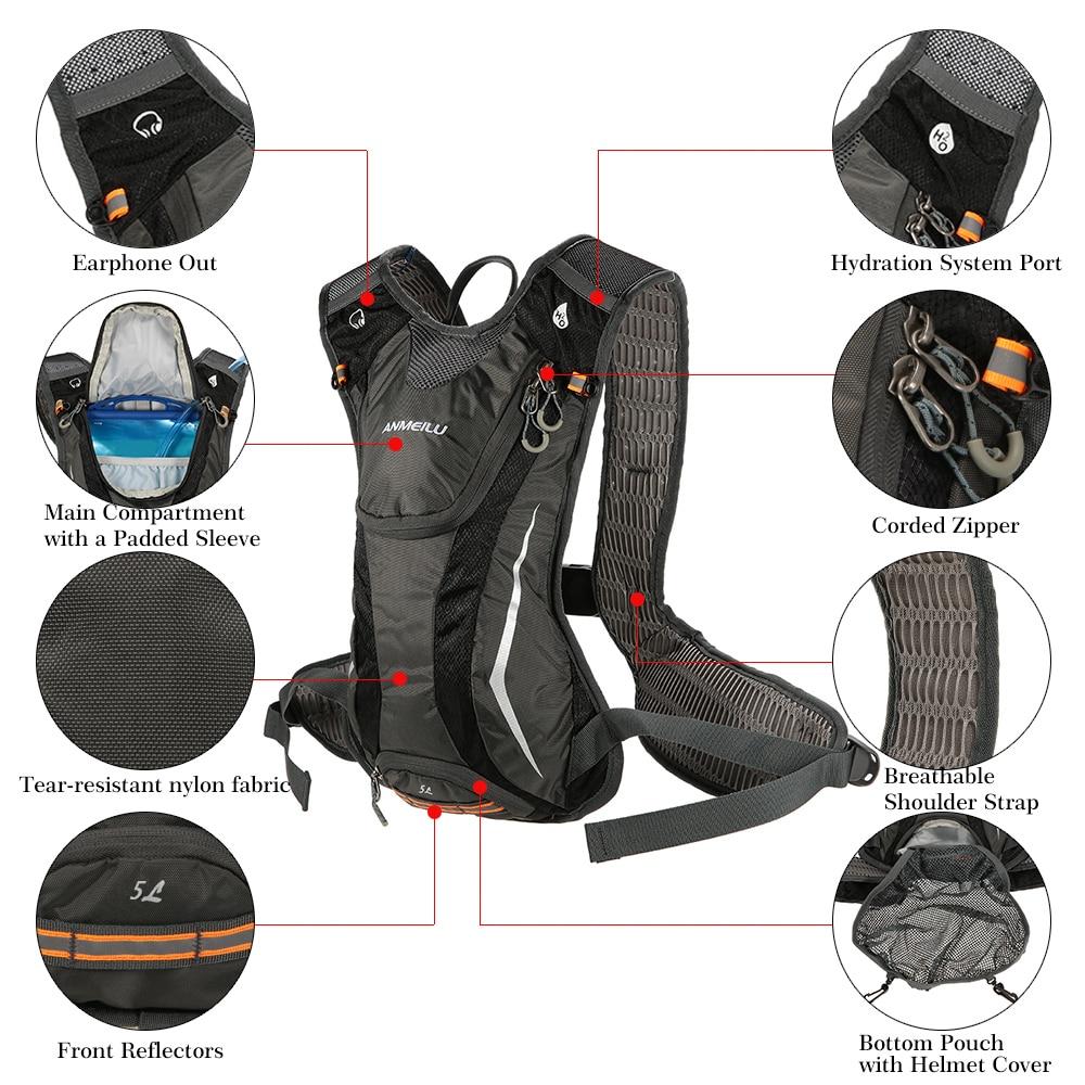 Lixada 5L Sports Bag Waterproof Hydration Backpack Running Vest Bicycle Bag Cycling Water Bag Breathable Bike Daypack Climbing