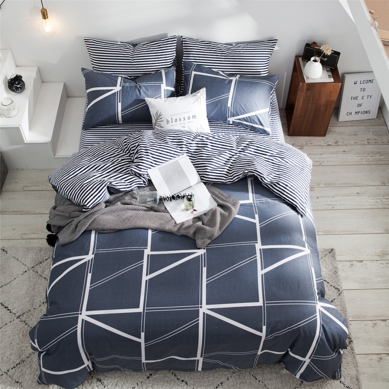 Moderno conjunto de capa edredão xadrez malha conjuntos cama colcha poliéster cobre única dupla rainha rei folha roupas