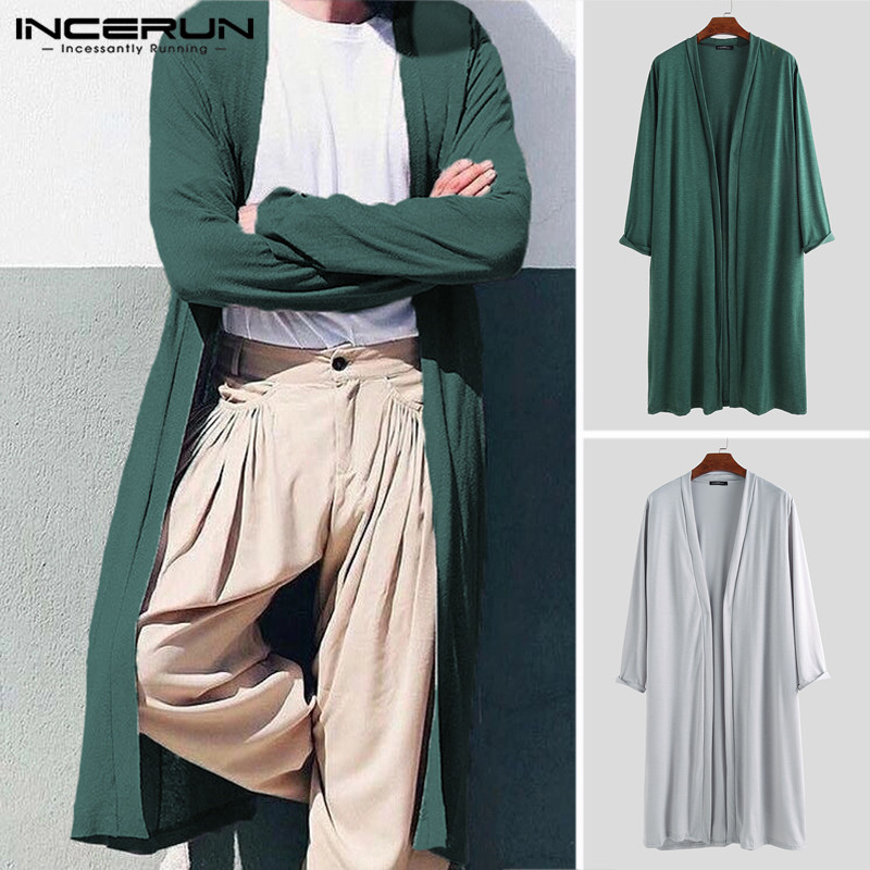 INCERUN 2020 Men's Outerwear Long Trench Solid Long Sleeve Open Stitch Fashion Thin Cardigan Streetwear Casual Men Jackets Coats