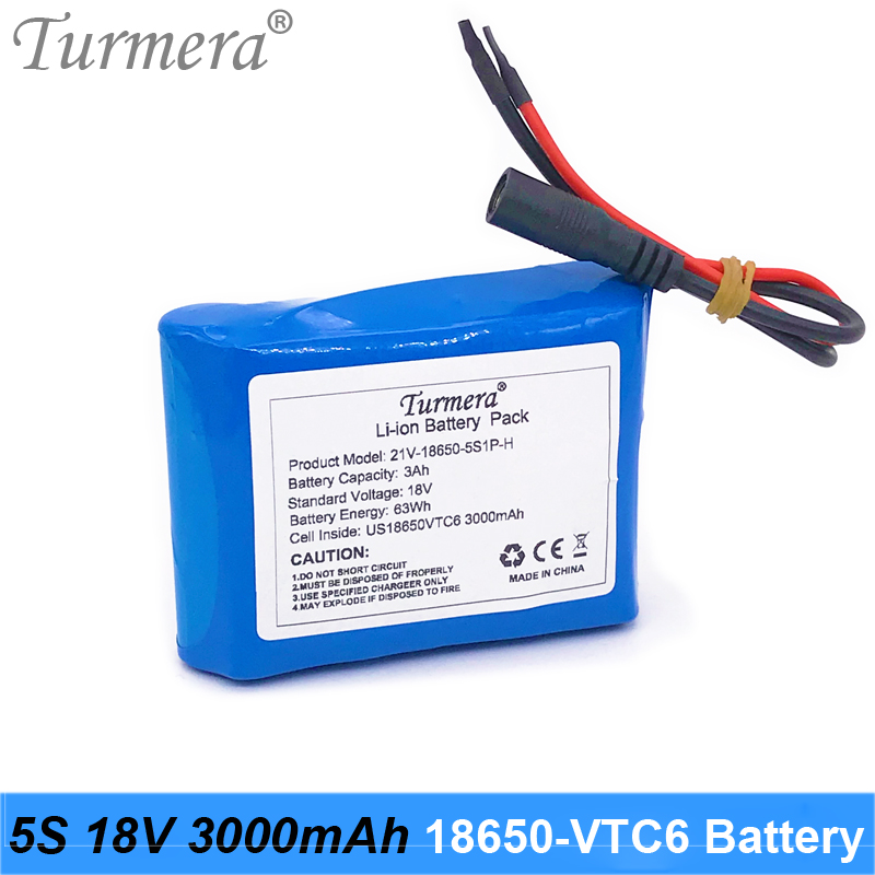 Turmera 18V 21V 3000mAh Reachargeable Lithium Battery US 18650VTC6 3000mAh 30A Battery with 5S BMS for 18V Screwdriver Battery image