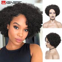 Wignee Afro peruka z kręconych włosów typu Kinky krótkie puszyste włosy peruki brazylijski naturalny czarny Jerry kręcone ludzkie włosy 100 ludzkie włosy dla czarnych kobiet tanie tanio CN (pochodzenie) Remy włosy Jerry curl Brazylijski włosy Średnia wielkość Średni brąz Ciemniejszy kolor tylko Swiss koronki