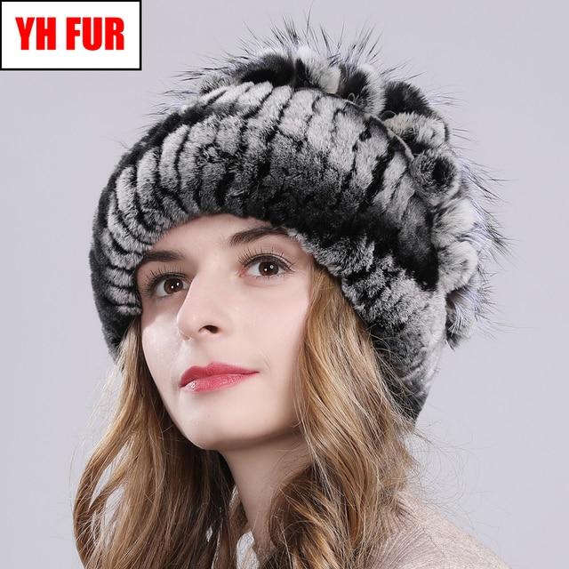 Russia Women Real Rex Rabbit Fur Hats Outdoor Elastic Knitted 100% Genuine Rex Rabbit Fur Cap Winter Warm Real Fur Beanies Hat