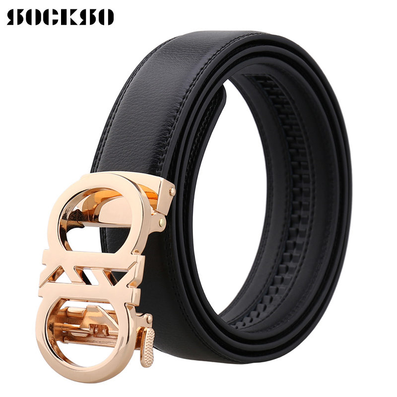 2019 Business Brand Automatic Buckle Fashion Men Leather Belt Gentleman Leather Waistband Design Western Strap Belt J0251