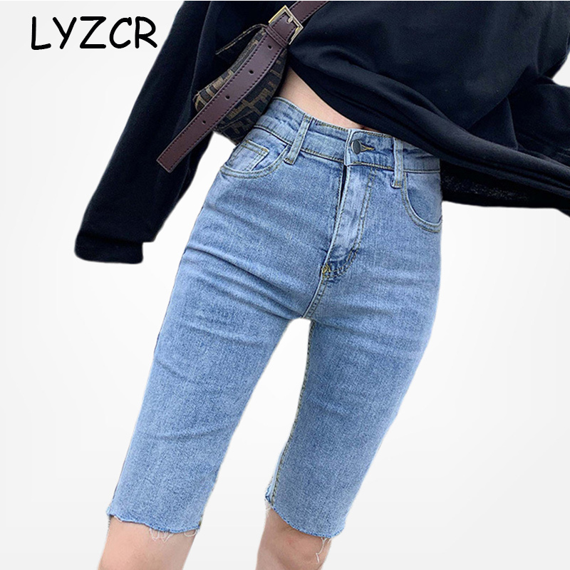 LYZCR High Waist Summer Capris Jeans Women 2020 Knee Length Black Skinny Jeans Woman Denim Pencil Pants Jeans Capri Mujer