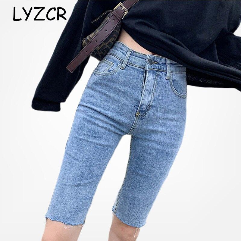 LYZCR High Waist Summer Capris Jeans Women 2020 Black Skinny Bermuda Jeans Woman Knee Length Denim Pencil Pants Jeans Capri