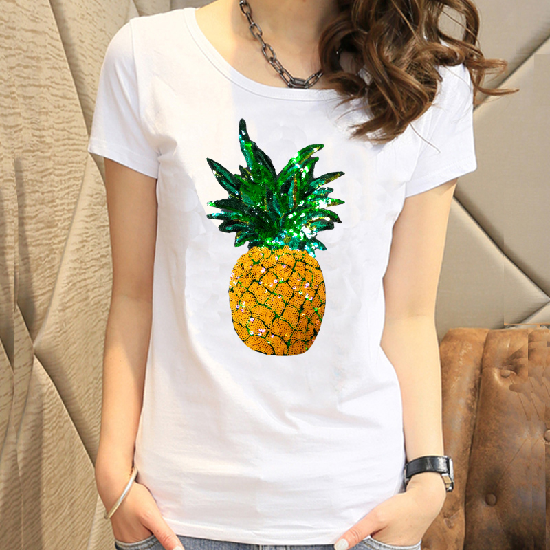summer pineapple beaded sequins short-sleeved T-shirt women's fashion casual Korean T-shirt loose cotton wild Tees large size