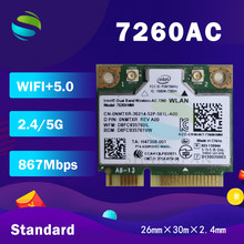 Для intel Dual Band Wireless-AC7260 7260HMW 7260AC 7260HMWAC 867Mbps + bluetooth4.0 half Mini PCI-eWireless wifi card MM #:9361315