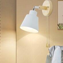 Drewniana ściana światła lampka nocna naścienna z przełącznikiem kinkiet nowoczesny kinkiet do sypialni salon Nordic macaron steering h