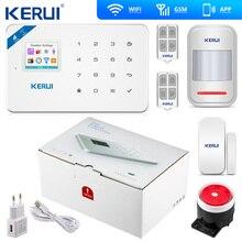 Kerui Alarma de casa inalámbrica W18, sistema de alerta antirrobo de seguridad para el hogar con wifi, GSM, iOS, aplicación Android de control, LCD, SMS