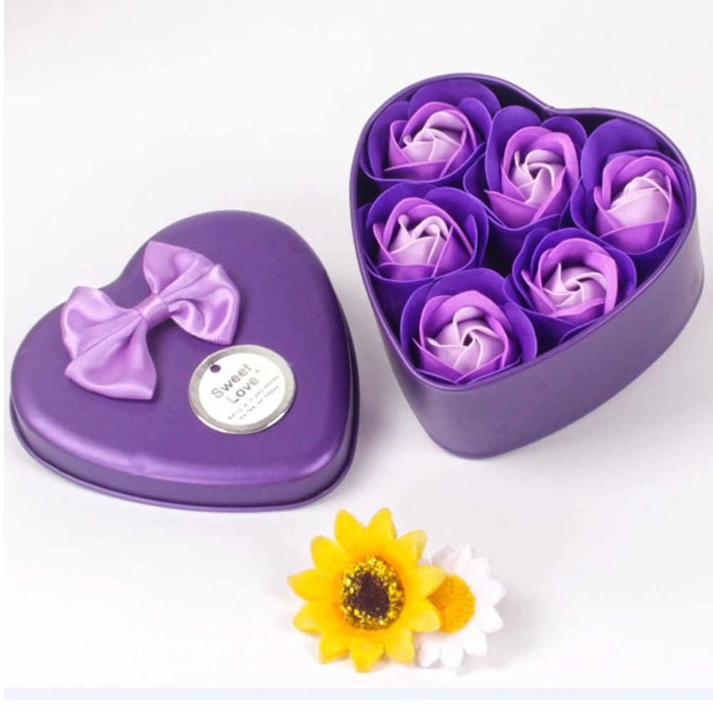 Bunga Mawar Sabun Sabun 6Pcs Jantung Beraroma Bath Tubuh Rose Bunga Sabun Case Pernikahan Dekorasi Hadiah Festival Kotak 40