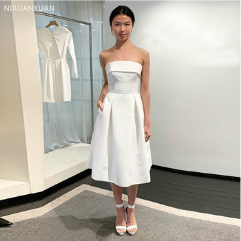 Short Wedding Dresses with Pockets Top Quality Satin White Ivory Simple Tea Length Bridal Dress for Summer Wedding фото