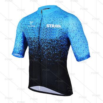 2021 nowe męskie koszulki z dżerseju STRAVA Summer Pro Mountain Bike rower Quick Dry Anti-UV odzież rowerowa z krótkim rękawem tanie i dobre opinie CN (pochodzenie) POLIESTER SHORT ropa ciclismo hombre Wiosna Zamek na całej długości Cycling Dobrze pasuje do rozmiaru wybierz swój normalny rozmiar