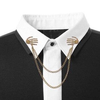 Broches de mano con calavera Vintage, Broches con cadena de Metal aleado, Broches, Traje De Hombre, camisa, Collar, borla, solapa, Pin, regalo de joyería para mujer