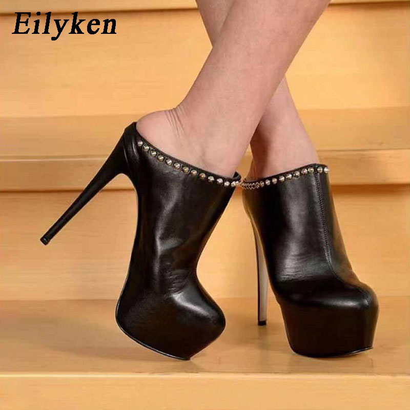 EilyKen Fashion Runway Ultra <font><b>High</b></font> <font><b>Heels</b></font> Black Platform Stiletto Shoes Round Toe Metal Rivet Solid <font><b>Sexy</b></font> Nightclub <font><b>17CM</b></font> Pumps image