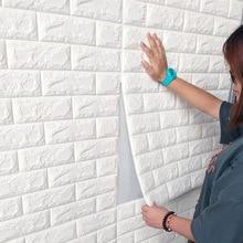 3D Brick Wall Stickers DIY Decor Self-Adhesive Waterproof Wallpaper for Kids Room Bedroom Living Room 3D Wall Sticker Foam Brick