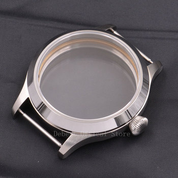 Mens Watches Parts case 45mm Sapphire Glass Clock case Fit ETA 6497/6498 Hand Winding Movement for mens mechanical wristwatches