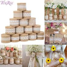 FENGRISE Natural Jute decoration For Wedding Decoration Jute Ribbon Vintage Rustic Wedding Decor Jute Burlap Roll Home Deco(China)