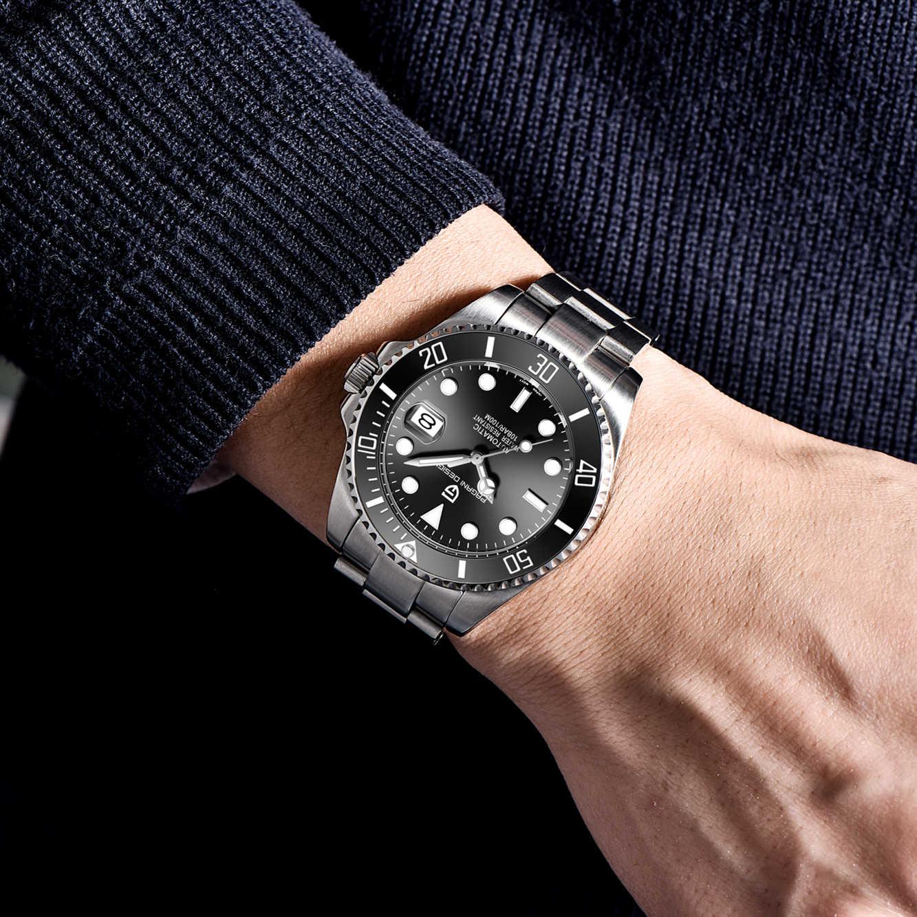 パガーニデザインの高級メンズ自動ステンレス鋼腕時計 100 メートル防水スポーツ腕時計機械式時計リロイhombre