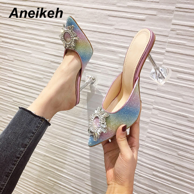Aneikeh <font><b>Sexy</b></font> Sun flower Rhinestone Sequins Pumps <font><b>Shoes</b></font> Woman Fetish High <font><b>Heel</b></font> Pointed end Slip-on Party <font><b>Shoes</b></font> Thin <font><b>Heels</b></font> Pumps image
