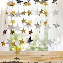 4 Meter Five-pointed Star Wafer Pulling Flag Hanging Birthday Party Decorating Wedding Banner  Christmas
