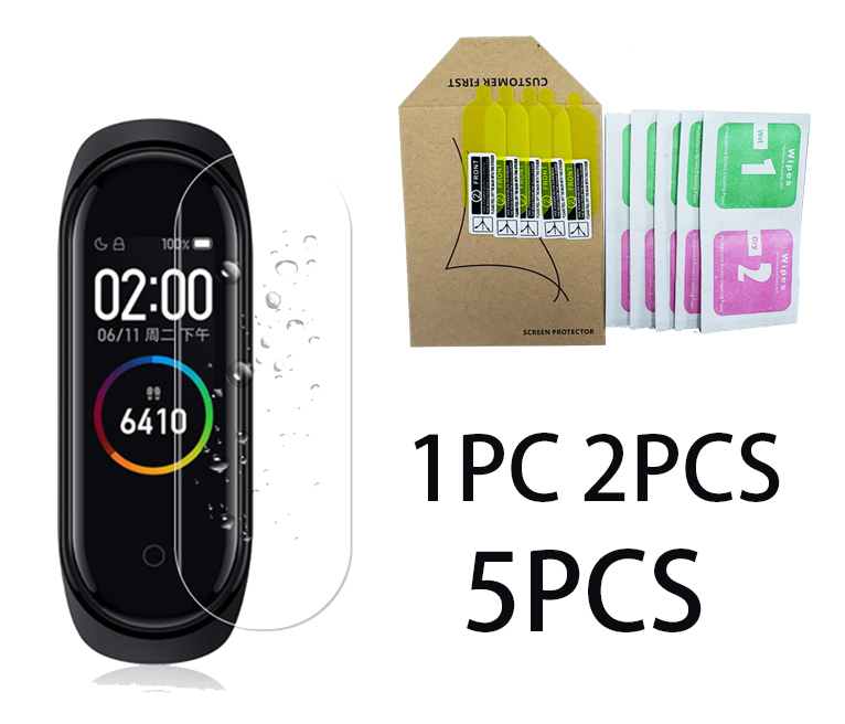 5 Pcs HD Film Screen Soft Case For Xiaomi Mi Band 4 Miband 4 Case Protective Cover Hydrogel Tempered Anti Scratch Cover