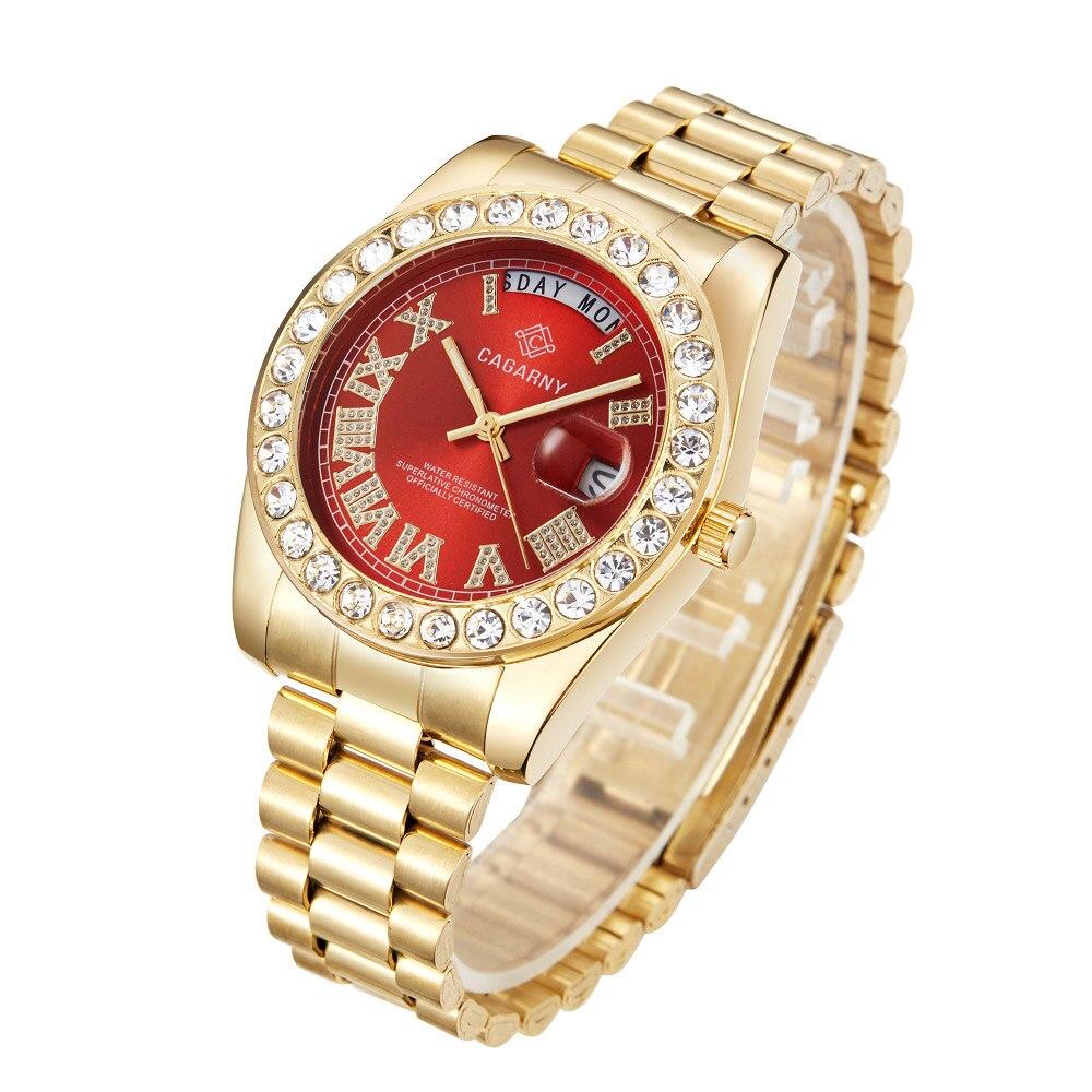 Image 3 - Luxury Crystal Diamond Gold Watch Men Quartz Stainless Steel Men Watches Calendar Date Week Waterproof Top Brand Wristwatch MaleQuartz Watches   -
