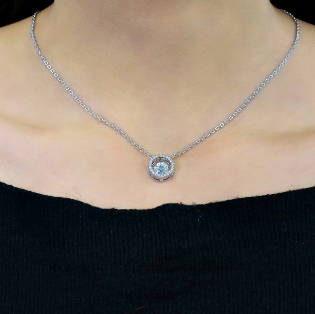 Transgems 14K 585 White Gold Center 1ct Carat 6.5mm F Color Moissanite Floating Setting Pendant Necklace for Women Gold Jewelry 5
