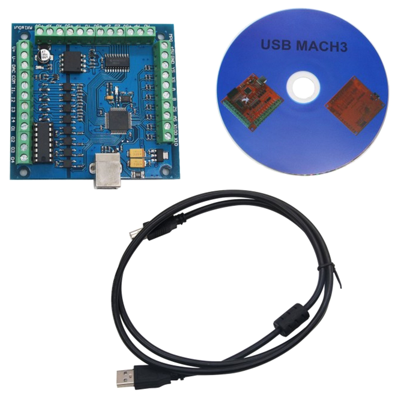 HOT-CNC MACH3 USB 4 Axis 100KHz USBCNC Smooth Stepper Motion Controller Card Breakout Board For CNC Engraving 12-24V