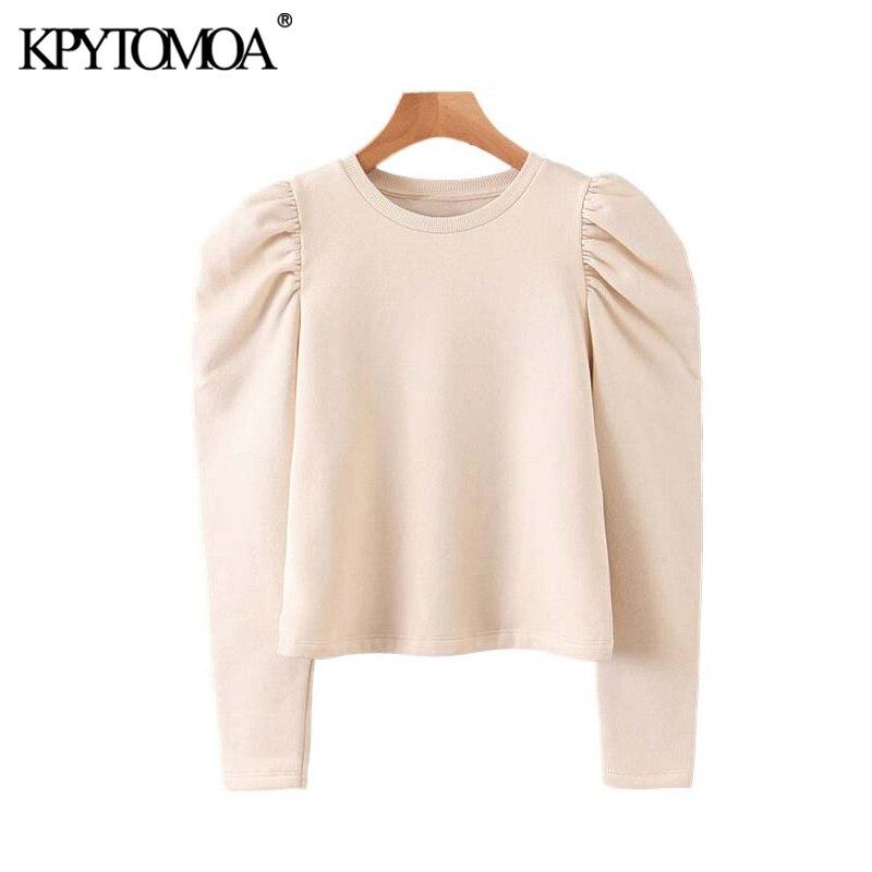 Vintage Stylish Basic Solid Sweatshirts Women 2020 Fashion O Neck Puff Sleeve Female Pullovers Chic Tops