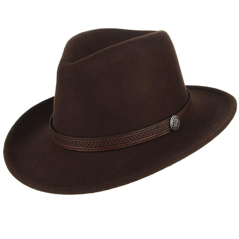 Fashion Women Men Fedoras Western Cowboy Hat Lady Sombrero Hombre Metal Piece Decoration Cowgirl Jazz Sun Caps Size 57CM