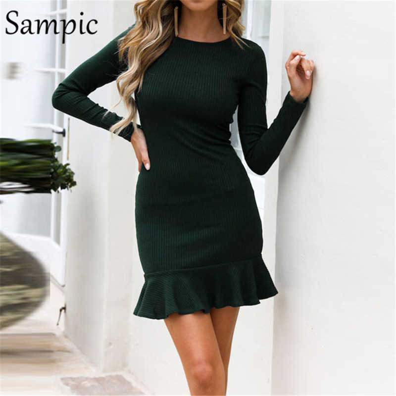 Sampic woman long sleeve bodycon o neck party dress elegant ruffles wrap club autumn winter dress 2019