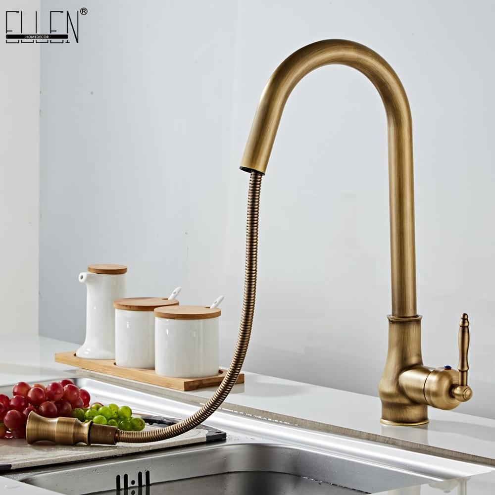 Antique Bronze Kitchen Faucets Pull Out Hot Cold Sink  Swivel 360 Degree Water Faucet Water Mixer Pull Down Mixer Taps ELM902AB