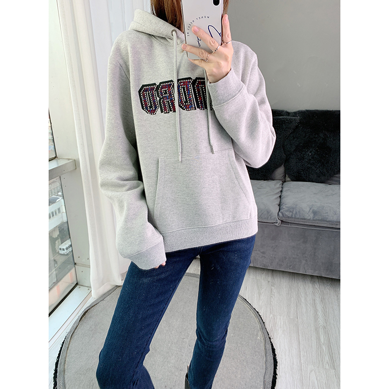 Women Hoodie 2019 Autumn And Winter New Letter Embroidery Hooded Loose Casual Women's Sweatshirt