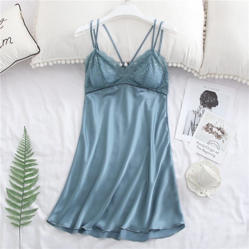 2019 New Products Imitated Silk Pajamas Women's Summer Sexy Backless Tube Top Lace Camisole Chest Pad Nightgown