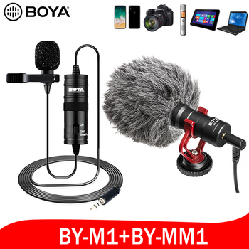 BOYA BY-MM1M1 Studio Mic Lavalier Mini Audio 3.5mm Collar Condenser Lapel for iphone Canon Nikon DSLR Camera Camcorders Recorder boya by m1 m1dm by mm1 dual omni directional lavalier microphone short gun video mic for canon nikon iphone smartphones camera