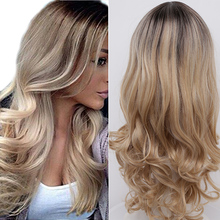 Long Wavy Ombre White Blonde wig  natural hair wig Synthetic Wigs for women's long wigs Cosplay Wig  synthetic hair
