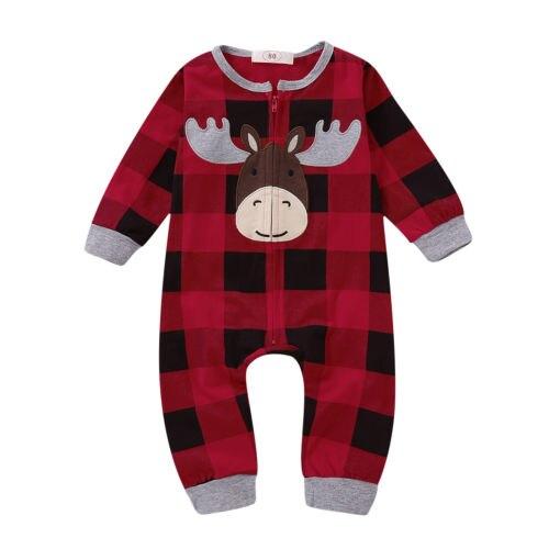 Weihnachten Nette Deer Baby Mädchen Jungen Kleidung Romper Langarm Plaid Zipper WEIHNACHTEN Baby Einem Stück Rot 3M 6M 12M 18M