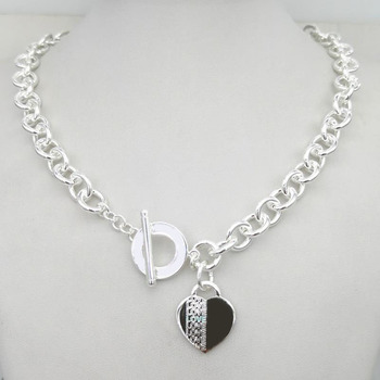 Sterling Silver 925 Classic Popular Cool Fashion LOVE Heart-shaped Ladies Necklace Jewelry Holiday Gift