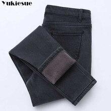 2019 Winter Jeans Frauen Gold Vliese Innen Verdickung Denim Hosen Hohe Taille Warme Hose Weibliche jeans frau Hosen Plus größe
